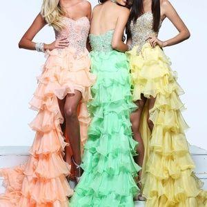 Sherri Hill Dresses - Sherri Hill peach strapless high low evening dress